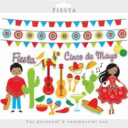 Fiesta Mexican Clipart Cinco Party Mayo Clip