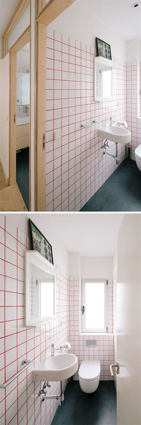 bright red grout    square white tiles
