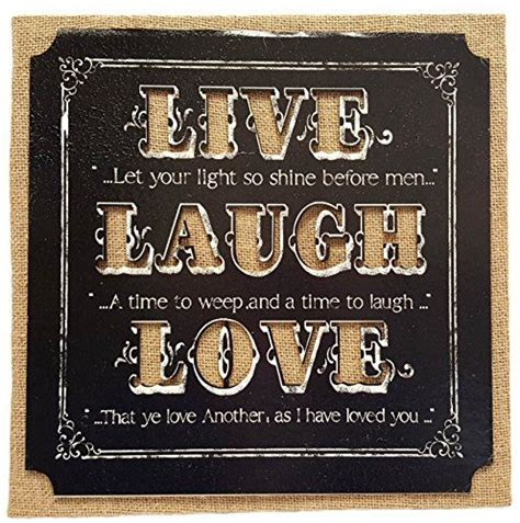 Discover the best of shopping and entertainment with amazon prime. Decorative Burlap Panel Wall Plaque Live Laugh Love Inspirational Message Perfect for any Home ...