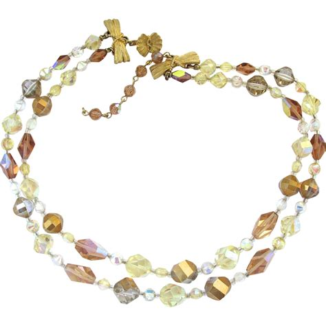 Vendome Two Strand Crystal Bead Choker Necklace from