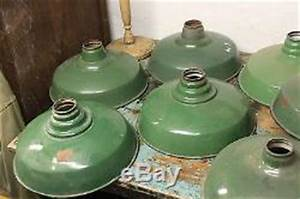 8 antique vtg industrial green porcelain lamp light shades With antique barn lights for sale