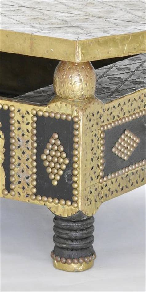 hammered brass coffee table hammered brass and tacks on wooden coffee table for sale