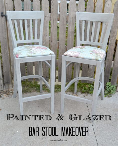 Bar Makeover by Painted Glazed Bar Stool Makeover My Creative Days
