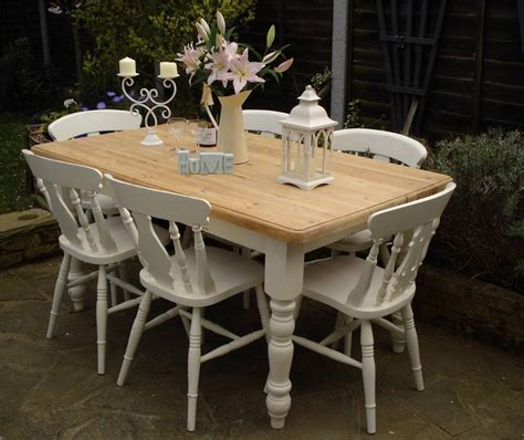 farmhouse shabby chic table shabby chic country farmhouse pine table and 6 chairs