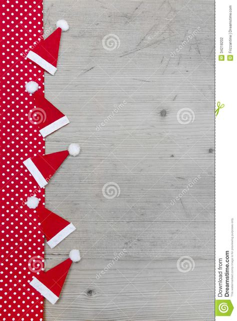 christmas hats red  white polka dot fabric  grey