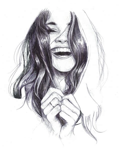 laughing woman drawing  doodle portrait art