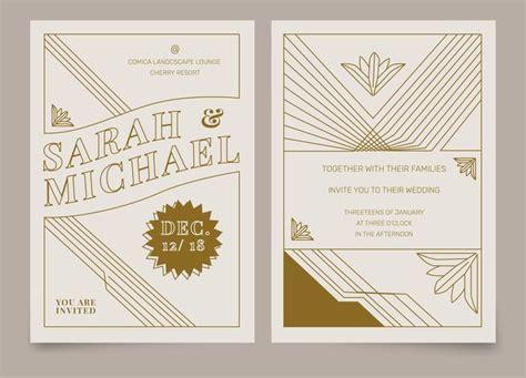deco invitation templates brown vintage deco wedding invitation vector template