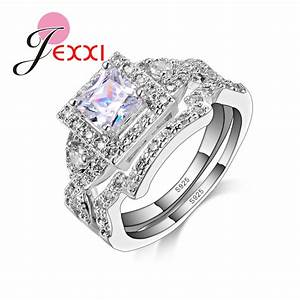 patico vintage classic square cz crystal 925 sterling With classic wedding ring sets