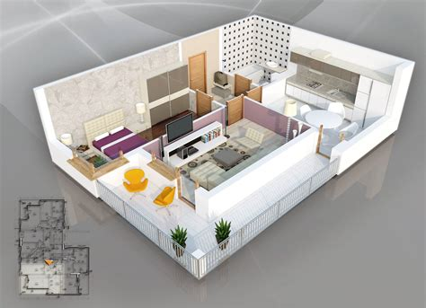 appartement 3 chambres 1 bedroom apartment house plans