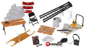 Wwe Accessories Tables Ladders And Chairs by 20 Piece Accessory Pack In Stock Now Ringside