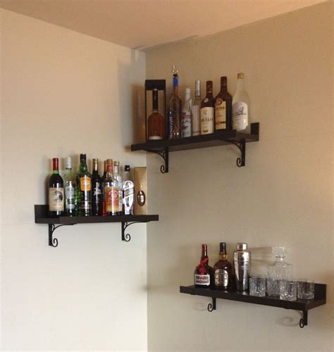 Home Bar Shelves by Diy Corner Bar Shelves And Brackets From Lowe S