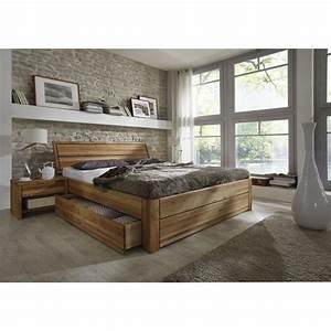 Massivholz Schubkastenbett 200x200 EASY SLEEP Eiche Massiv