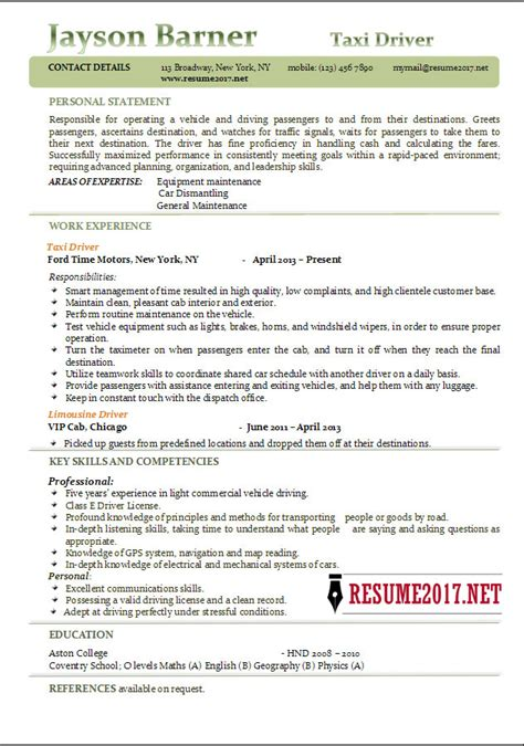 taxi driver resume examples