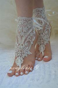 ivory beach wedding barefoot sandals ivory barefoot by With wedding dress sandals