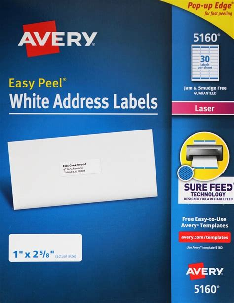 avery 5160 easy peel white address labels laser printers