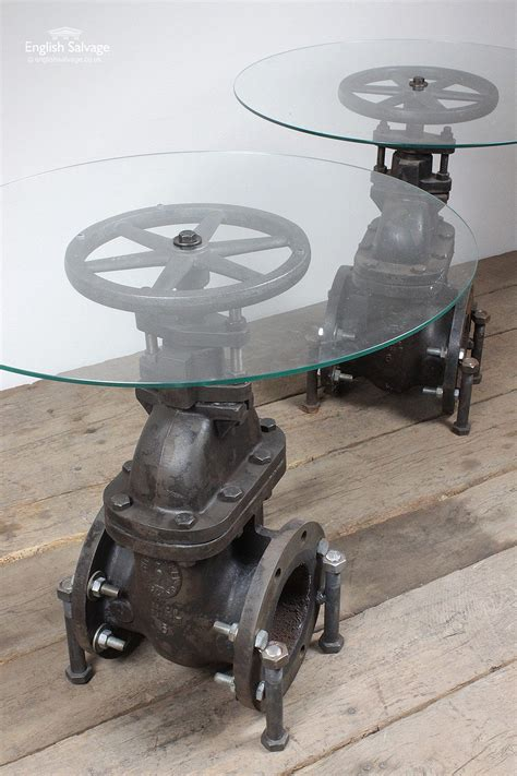 repurposed valve  glass topped tables