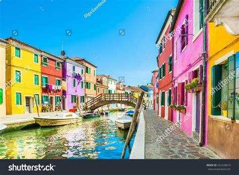 italy colorful houses colorful houses burano island near venice stock photo