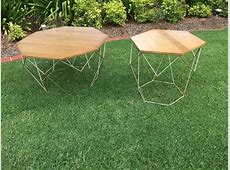 Gold Wire Coffee Table with Timber Top – Rocket Events
