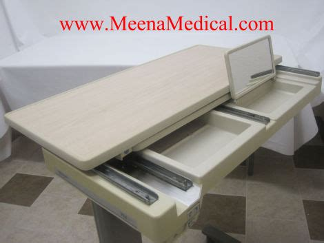 used hospital bed table for sale used hill rom pm jr over bed table cabinetry furnishings