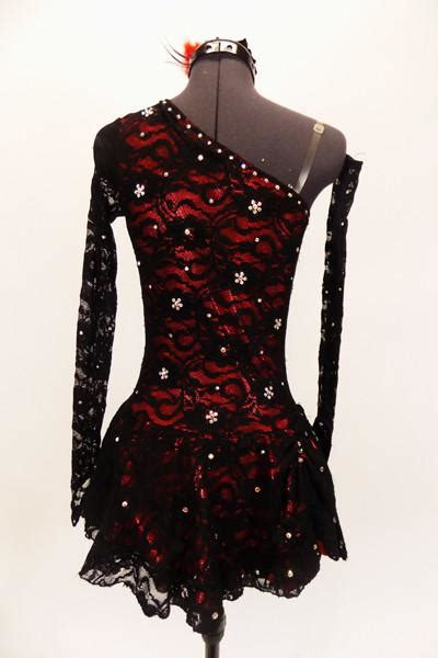 bonita red black lace spanish dance costume  sale