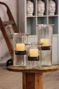 Kalalou, Original, Glass, Candle, Cylinder, With, Rustic, Insert