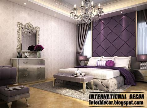 contemporary bedroom design  purple wall decoration