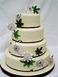 Passion flowers and leaves, some painted onto the cake ...