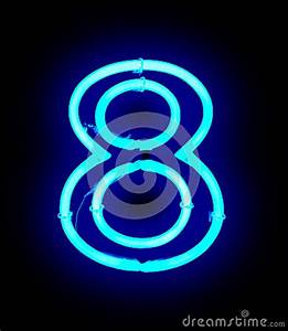 Neon Light Number 8 Stock Image Image