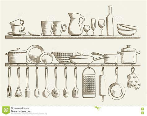 retro kitchen shelves  cooking utensils stock vector