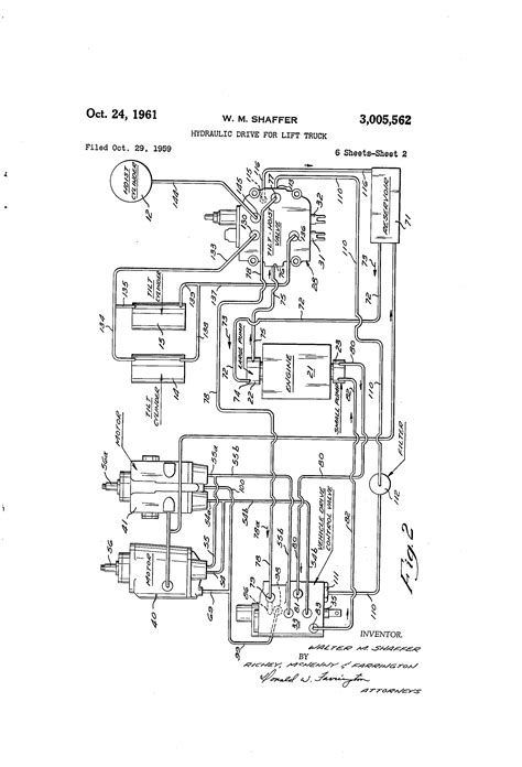 Towmotor Wiring Diagram by Patent Us3005562 Hydraulic Drive For Lift Truck