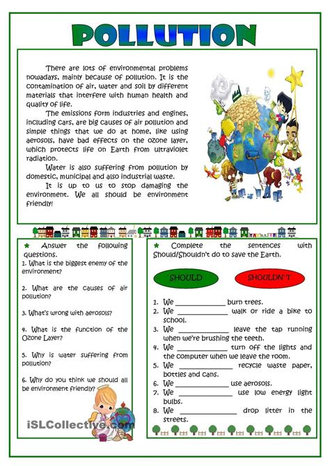 Pollution Reading  English Grammar  Pinterest  English, Reading Comprehension And Worksheets