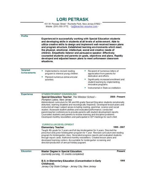 resume exles for high teachers middle math teacher sle resume website of xepapeek