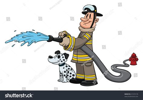 Cartoon Firefighter Dalmatian Dog By His Stock Vector