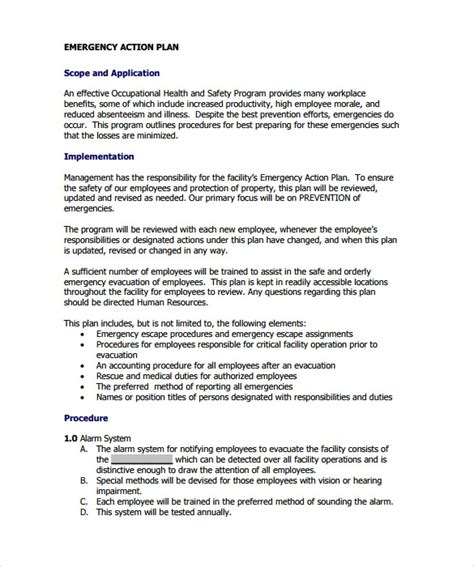 sample emergency action plan templates  ms word