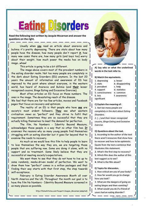eating disorders worksheet  esl printable worksheets