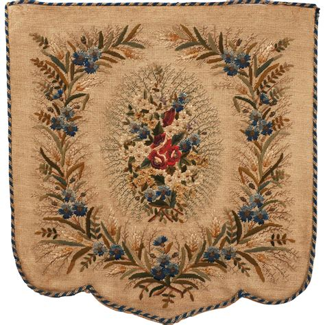 antique victorian hand embroidered fireplace screen floral