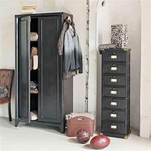 Entrepot Destockage Maison Du Monde : armoire indus noire chambre anastasia armoire casier ~ Melissatoandfro.com Idées de Décoration