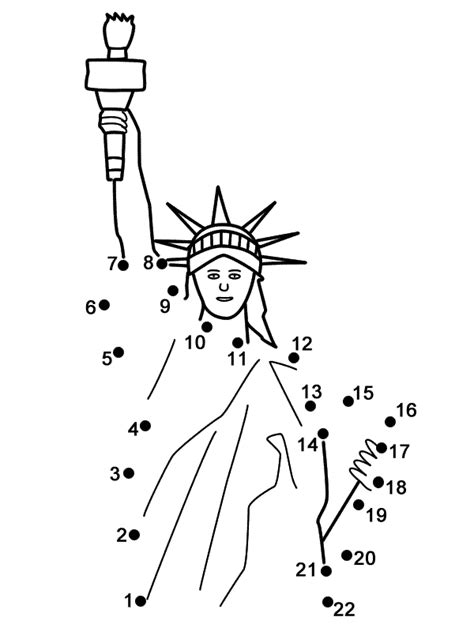 statue  liberty connect  dots count