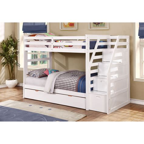 bunk bed with trundle desk and storage kids twin over twin triple bunk bed with trundle and
