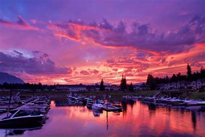 Wallpapers Columbia British Canada Backgrounds Harbor Sunset