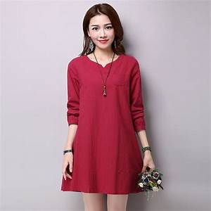 2016 new long sleeve Cotton And Linen spring dresses Loose ...