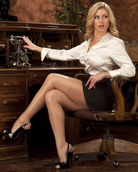 Short Black Pencil Skirt Ivory Satin Blouse Sheer Pantyhose And Black Strappy Stiletto High