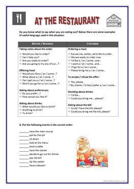 english esl    restaurant worksheets