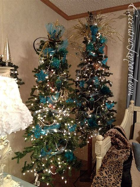teal  gold tree eccentric leopard holiday decor