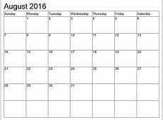 August 2016 Printable Calendar Blank Templates
