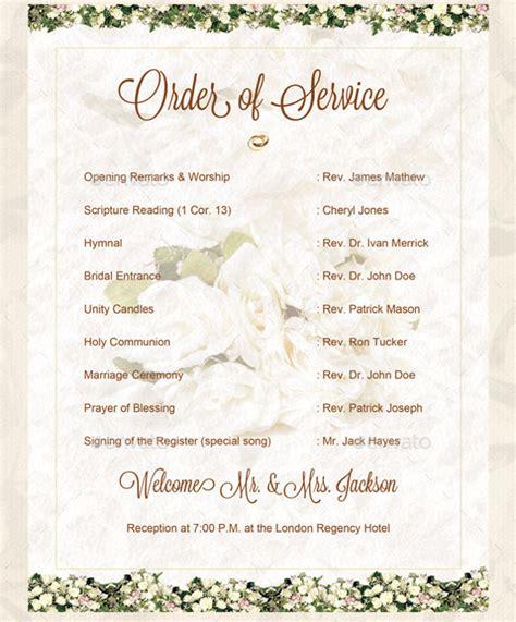wedding order  service templates  sample
