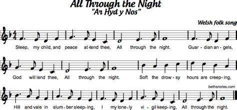 night ar hyd  nos beths notes