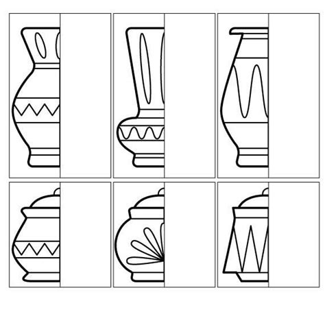 coloring  kids complete drawing  vase  pot
