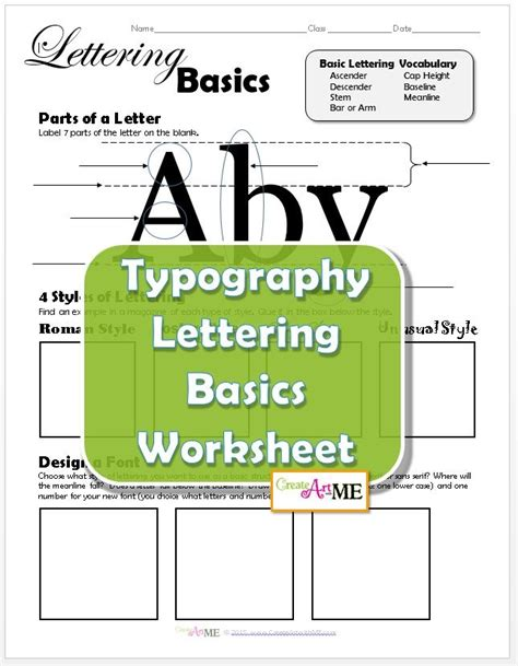 typography lettering basics lesson plan and worksheet worksheets typography and graphic