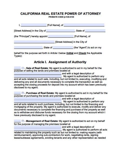 california real estate only power of attorney form power